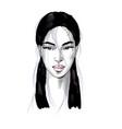 beautiful asian woman portrait with pink lips