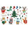 big christmas set with isolated cute forest animal vector image