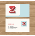 business card letter Z vector image vector image