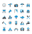 Camping and tourism icons vector image vector image