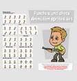 cartoon boy character animation sprites sheet set vector image vector image