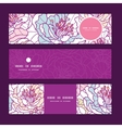 colorful line art flowers horizontal banners set vector image