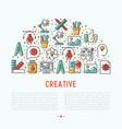 creative concept in half circle vector image