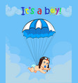 cute baby boy in pilot hat falling down with blue vector image vector image