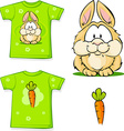 cute bunny printed on shirt vector image