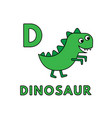 cute cartoon animals alphabet dinosaur vector image