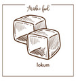 delicious sweet cubes of lokum from arabic food vector image vector image