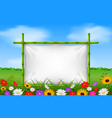 empty frame made of bamboo in garden with flower vector image vector image