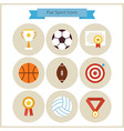Flat Sport and Competition Winning Icons Set vector image vector image