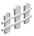 Fragment of white wooden fence isolated vector image