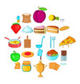fresh pastry icons set cartoon style vector image