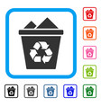 full recycle bin framed icon vector image vector image