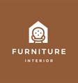 furniture interior sofa house logo icon vector image
