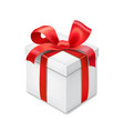 gift box with red ribbon bow isolated vector image vector image