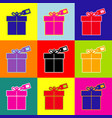 gift sign with tag pop-art style colorful vector image