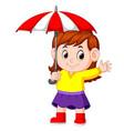 girl with an umbrella vector image vector image