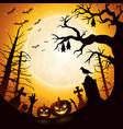 halloween background with pumpkins and bats hangin vector image