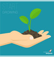 hand holding soil with growing sprout vector image vector image