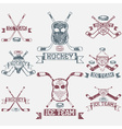 hockey sport club grunge vintage labels set vector image vector image