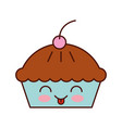 kawaii cake cherry dessert pastry product food vector image vector image