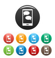 mobile chat icons set vector image vector image