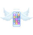 mobile phone flight on blue wings vector image vector image