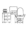 offfice desk computer calendar and chair vector image vector image