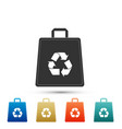 paper shopping bag with recycle symbol icon vector image vector image