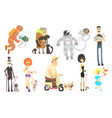people of different professions with pets vector image vector image
