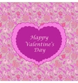 Pink floral valentine card vector image vector image