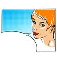 Pop art of a woman face vector image