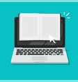 reading open notebook or notepad online on laptop vector image vector image