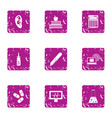 sanitary doctor icons set grunge style vector image vector image