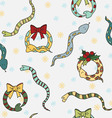 Seamless background with cute snakes mistletoe vector image vector image