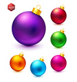 Set of realistic and colorful Christmas balls vector image