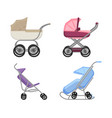 set of strollers and prams summer and winter vector image vector image