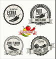 set organic and bio vegetables badges in vector image