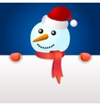 Smiling snowman holding blank page vector image