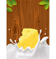 splash of milk with cheese wood texture for vector image vector image