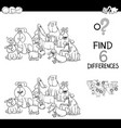 spot the difference with dogs coloring book vector image vector image