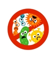 Stop bacterium sign with cute cartoon gems in flat vector image