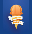 summer party poster with ice cream cone on blue vector image vector image