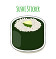 sushi sticker asian food with fish rice seaweed vector image vector image