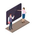 teachers standing near blackboard on lesson 3d vector image vector image
