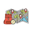 travel bag camping with compass and paper map vector image vector image