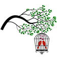 Tree silhouette with bird in a cage vector image