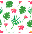 tropical seamless pattern on dark green background vector image