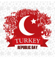turkey republic day star background flag country vector image vector image