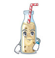 waiting sweet banana smoothie isolated on mascot vector image vector image