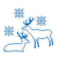 winter pattern with deers and snow flack vector image